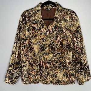 Attitude mixed earth toned gold leaf embroidered rayon velvet button jacket L